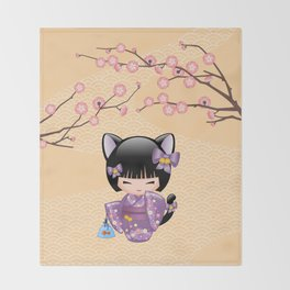 Japanese Neko Kokeshi Doll V2 Throw Blanket