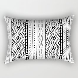 White Mudcloth Rectangular Pillow