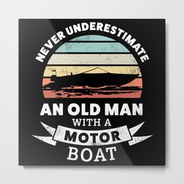 Funny Old Man with a Motor Boat Gift Metal Print