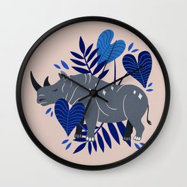 Sumatran Rhino – Blue & Grey Wall Clock