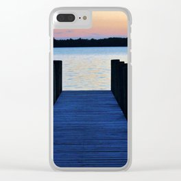 Boat Pier At Sunset Clear iPhone Case