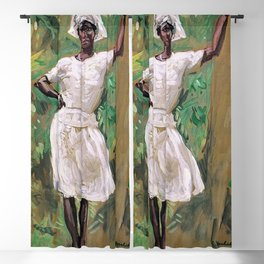 Sketch of Young Black Woman in White Dress and Hat - Gari Melchers Blackout Curtain