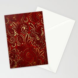 Red Burgundy Deep Gold Paisley Floral Pattern Print Stationery Cards