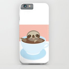 Sloth in a blue cup coffee, tea, Three-toed slot iPhone Case