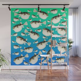 Puffer Pattern Turquoise Teal Blue Wall Mural