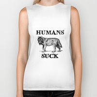 novelty Biker Tanks featuring Humans Suck by Mobii