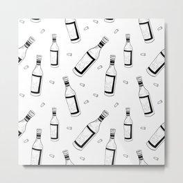Wine pattern. Hand drawn sketch doodle black wine bottles and corks on white background. Metal Print