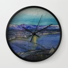 A Bridge over a River under Moonlight Wall Clock