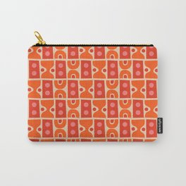 Mid Century Abstract Pattern Orange & Red Carry-All Pouch