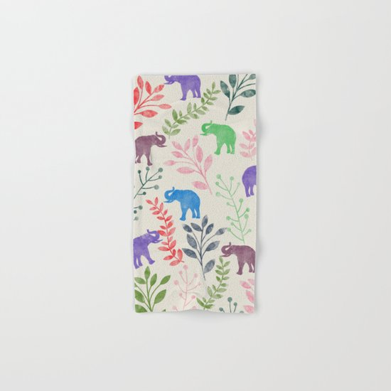 Watercolor Flowers & Elephants Hand & Bath Towel