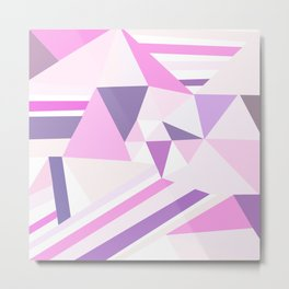 Modern abstract pastel pink lilac geometrical triangles pattern Metal Print