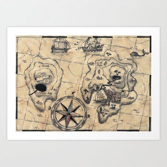 Old Nautical Map Art Print