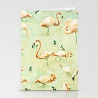 flamingos Stationery Cards featuring Flamingos by Lisa Argyropoulos