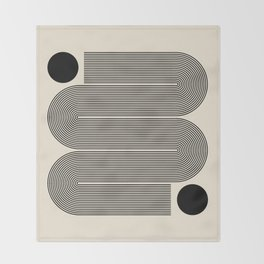 Abstraction_LINE_BLACK_DOT_VISUAL_ART_Minimlism_001A Throw Blanket