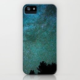 Colorful Green Blue Milky Way Night Sky With Tree Silhouette iPhone Case