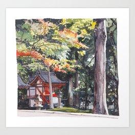 Shrine garden in Nara Art Print