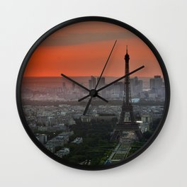 The Eiffel Tower in Paris Sunset Wall Clock