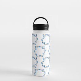 Blue and Gray Watercolor Leaf Wreath Water Bottle