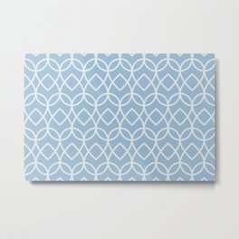 Pastel Blue White Geometric Pattern Teardrop 2021 Color of the Year Earth's Harmony & Cooled Breeze Metal Print
