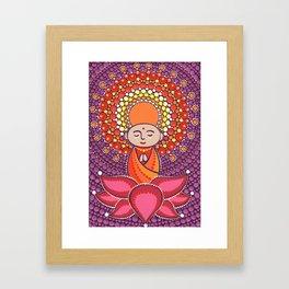 Jizo Meditating upon a Ruby Lotus Framed Art Print