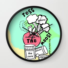 Toss the Meds by Rosalie - Zine Page Wall Clock