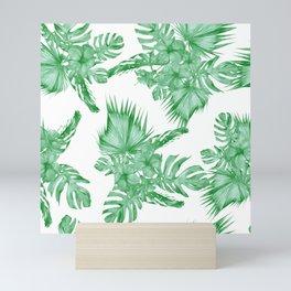 Palm Leaves and Hibiscus Tropical Green Mini Art Print