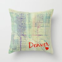 denver Throw Pillows featuring Denver. by Artsy B