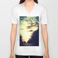 texas V-neck T-shirts featuring Texas by Camille Renee
