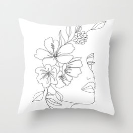 Minimal Line Art Woman Face II Throw Pillow