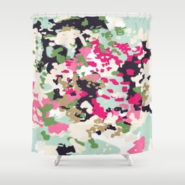 Finch - Modern abstract painting in free style modern colors navy, mint, blush, pink, white Shower Curtain