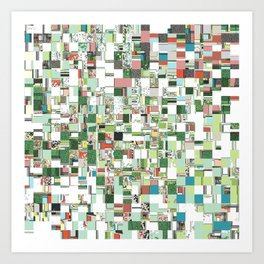 Chaotic Clusters of Green Art Print