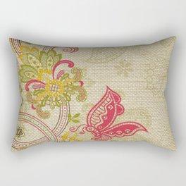 Raw Linen Texture Vines and Flowers // Art Nouveau Butterfly Rectangular Pillow