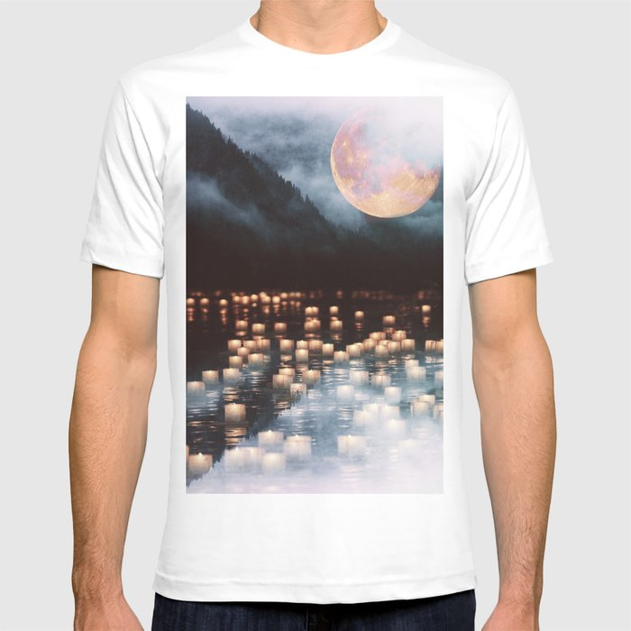 Fantasy lake with moonlight T-shirt
