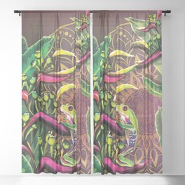 Red Eyed Tree Frog Sheer Curtain
