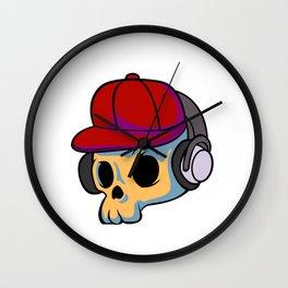 cartoon skull with Earphones and hat Wall Clock