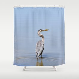 Great Blue Heron Fishing - I Shower Curtain