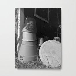 Abandoned Shed & Pots Metal Print