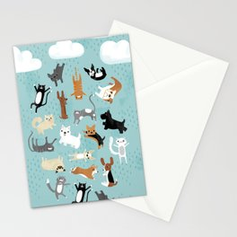 Raining Cats & Dogs Stationery Cards