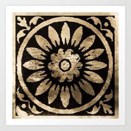Taupe and Black Tile II Art Print