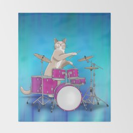 Cat Playing Drums - Blue Throw Blanket