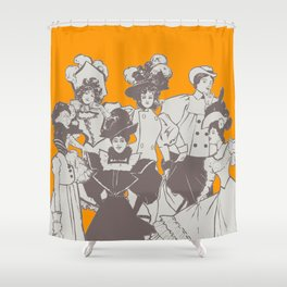 Vintage Ladies APRICOT / Vintage illustration redrawn and repurposed Shower Curtain