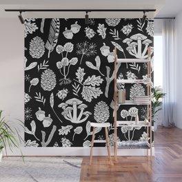 Linocut minimal botanical boho feathers nature inspired scandi black and white art Wall Mural