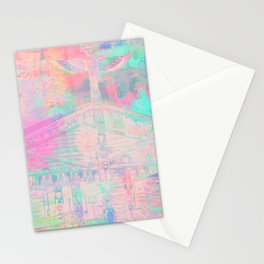 Totem Cabin Abstract - Pastel Stationery Cards
