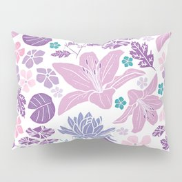 Purple and pink Japanese pond foral Pillow Sham