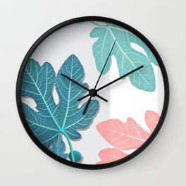 Colored Fig Tree Leaves Wall Clock