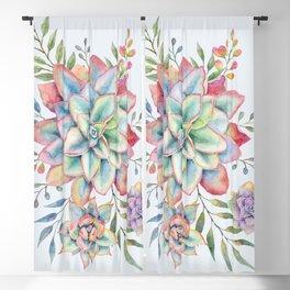 Watercolor Succulents #73 Blackout Curtain