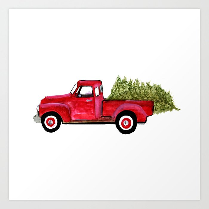 Red Christmas Truck Art Print By Tesheeleydesigns