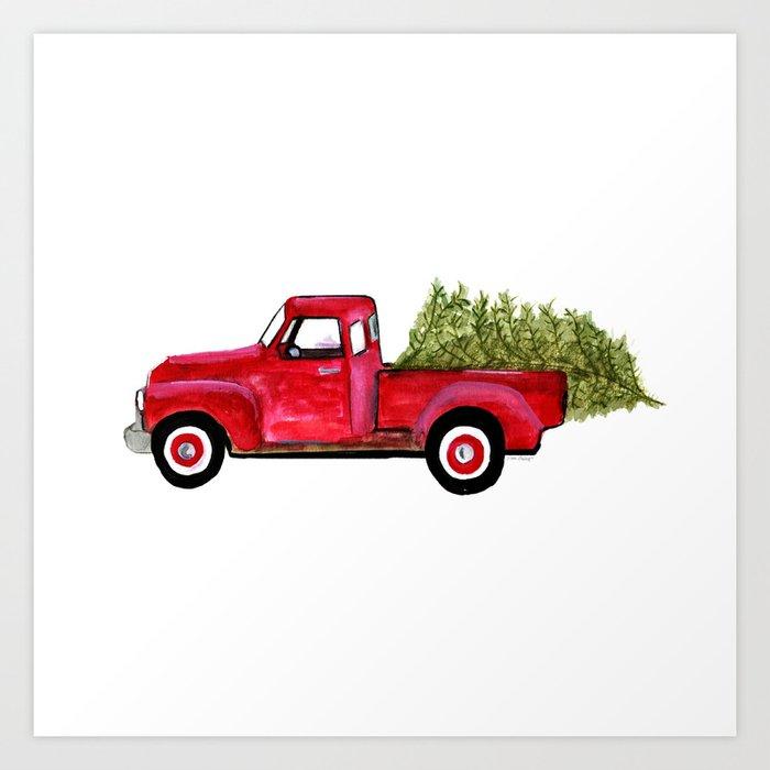 Red Christmas Truck.Red Christmas Truck Art Print