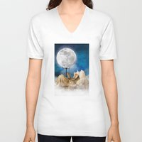 sandman V-neck T-shirts featuring Good Night Moon by Diogo Verissimo