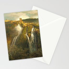 The Waterfalls in the Tiburtine Hills at Tivoli Villa Rome, Italy by Oswald Achenbach Stationery Cards
